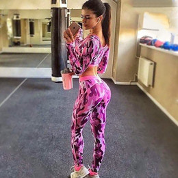 Wholesale Fashion Camo Tracksuits Gray Red Skinny Gym Fitness Bodysuits Long Sleeve Crop Top Slim Leggings Pants Jogger Sport Suits Yoga Wear DZF0615