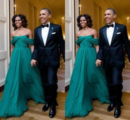 Wholesale hot sale first lady Michelle Obama style evening dresses off shoulder floor length evening gowns a line chiffon formal prom dress
