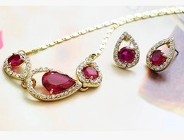 Shinning red diamond zircon heart lady's necklace earings dgdfgdf