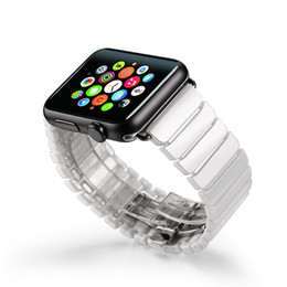 ZLIMSN Watchbands For Apple Watch Strap Band Black White For iWatch Ceramic Bracelet Butterfly Stainless Steel Replacement
