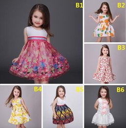 Wholesale Pineapple banana printing spring summer girls dress Cute bow princess dress CM sleeveless vest skirt baby clothes B45