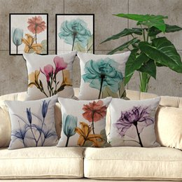 Wholesale Vintage Decorative Home Cotton Linen Pillow Case Cover Living Room Bed Chair Seat Waist Throw Cushion Small fresh flowers Pillowcases BY DHL