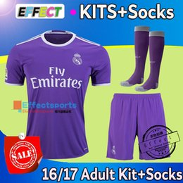 Wholesale 2016 Cristiano Ronaldo Adult kits Real madrid home white away Purple Third Black soccer jersey short Socks football Shirts full sets