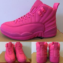 (With SHOES Box)Retro 12 XII Valentine's Day PINK Women Shoes Hot Sale Shoes Free Shipping