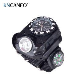 Wholesale New Portable Aluminum Wrist Watch Flashlight Torch Light USB Charging Wrist Model Tactical Rechargeable Flashlight