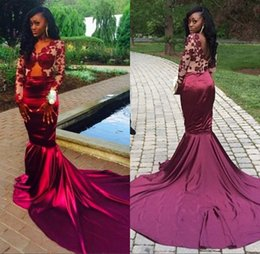 Sexy Burgundy Long Sleeves Formal Dresses Evening Wear 2017 Mermaid Style Vintage Lace Arabic Dubai African Plus Size Prom Gowns