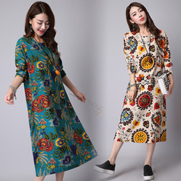 2016 new chinese style autumn women long sleeve o-neck retro vintage cotton linen floral print long dress plus size women casual clothing