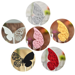 100pcs Laser Cut Butterfly Table Mark Escort Wine Glass Name Place Cards for Wedding Decoration Baby Shower Favor Birthday Party Supplies