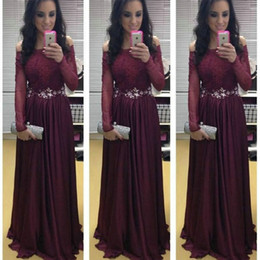 Sexy Prom Dresses Long A-Line Burgundy Off-Shoulder Long Sleeves Maroon Sweep Train Formal Cocktail Party Dress Evening Cheap