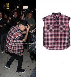 new kpop hip hop streetwear fake designer clothes skateboard side zipper t shirt kanye fear of god justin bieber tartan clothing