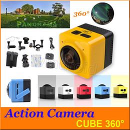 Caméscopes mini- à vendre-Panoramique CUBE 360 Mini Sports Caméra d'action 360 ° 190 ° VR Caméra Caméra WiFi H.264 1280 * 1042 Caméscope Mini vidéo coloré gratuit DHL 5pcs