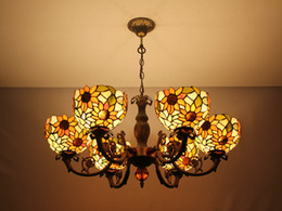 "Tiffany Style Sunflower Hanging Lamp Stained Glass 37"" Shade Handcrafted with 6 Lights"