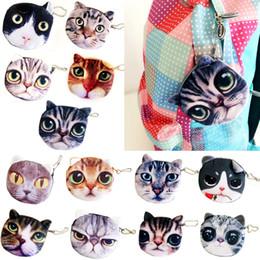 Wholesale Hot Sales Lovely Cute Cat Face Print Zipper Coin Purses Wallets Makeup Mini Bag Pouch BX194