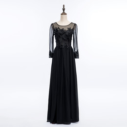 Bateau Neck Lace Chiffon Long Evening Dress With Appliques 2018 Backless Long Evening Gowns Long Sleeves Party Gowns Elegant
