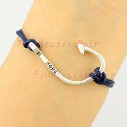 Newest Simple Silver Hope Fishing Hook Fish Hooks Rope Bracelets & Bangles For Fishing Lovers Bracelet For Best Friend Gift-Drop Shipping