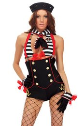 Wholesale Sexy Military UniformFantasy Island Sailor Costume Bodycon Suit Silk Stocking Halloween Outfit Adult Erotic Role Playing