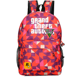 Wholesale Red diamond GTA backpack V five school bag GTA5 Teenagers daypack Mochilas schoolbag Grand theft auto game day pack