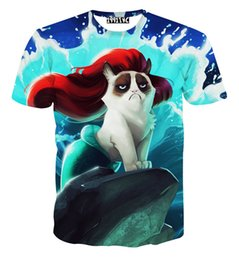High Quality men women Harajuku t shirt Red hair mermaid waves of angry cat tshirts animal 3d printed t-shirts cartoon tee shirt