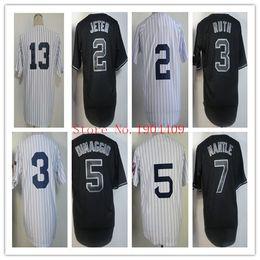 Wholesale Discount Baseball Jerseys Yankees Derek Jeter White Black Strip Cool Base Jerseys Mens Sports Jerseys Soft Baseball Uniform