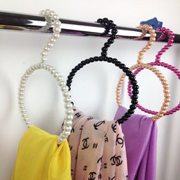 Wholesale products silk Scarves Ties washcloth hangers fashion beautiful beads pearl hanger clothes rack