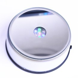 Wholesale New quot Rond LED Colors Lights Rotate light up Display Stand Base For D Glass Crystals Ball paperweight cocktail champagne DC Adapter