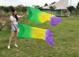 2016 sales of 100% silk handmade high-quality silk belly dance fan dance green yellow purple 180 * 90 cm one pair of dress