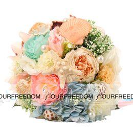 Wholesale WF053 OC Beach Wedding Flower With Shells Good Design High Quality Wedding Bridal Bouquet Bridesmaid Handmade Flowers Hot Summer