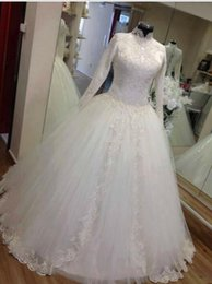 Real Picture Luxury High Collar Long Sleeves Muslim Ball Gown Wedding Dresses Dubai Arabic Bridal Gowns
