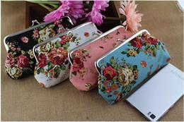 Скидка большие отпечатки на холсте 18 * 9 см (7 * 3.5inch) Девушки Печатный цветок цветка год сбора винограда способа Портмоне Большая Роза Холст однослойный Засов Портмоне сцепления бумажник сумки