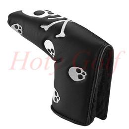 Wholesale Livraison gratuite noir cuir blanc crâne CrossBones Headcover Golf Lame Putter Couverture putter grip