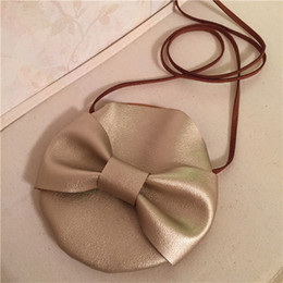 2017 INS hot Children Crossbody Bow Bag for Girls Cool Gold PU Leather Kids Fringe Bag Boy Bow Messenger Bags Handmade Small Bag Coin Purse