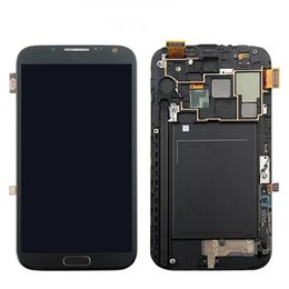 For Samsung Galaxy Note 2 N7100 LCD Touch Screen Digitizer Assembly With Middle Frame Note II Original LCD White Grey Replacement