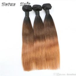 El cabello humano recto del pelo de Ombre teje el tono 1B / 4/30 6A Ombre de la Virgen india malasia peruana brasileña Remy desde paquetes brasileños remy 1b fabricantes