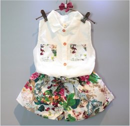 2016 Summer Fashion Girls Clothing Sets Children Sleeveless Vest Shirt+Floral Printed Shorts Skirts 2pcs Set Kids Outfits Cute Girl Suit