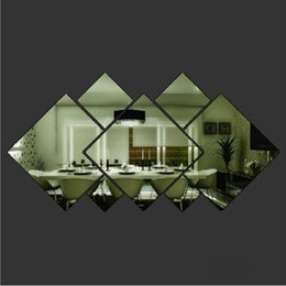 Wholesale 1PC Simple Geometric Square D Mirror Wall Stickers Living Room Office Home Decoration Children Room Decorate