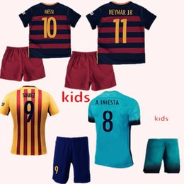 Wholesale 2015 Kids Barcelona jersey Youth Arda A iniesta Suarez Messi Neymar jr Soccer Jerseys Boys Third Barce Jersey Kit Uniform Children Kits