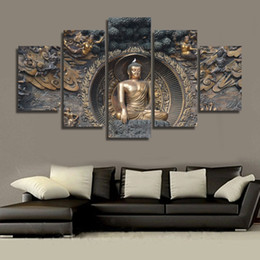 5 Piece Unframed HD Printed Buddha statue Painting wall art room decor print poster picture canvas Free shipping ny-1195
