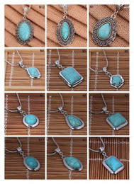 Fashion women's DIY Tibetan silver turquoise necklace(with chain) 12 pieces a lot mixed style,oval European Beads pendant necklace EMTQN1