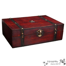 Wholesale Vintage Jewelry Storage Box Metal Lock Wooden Organizer Case Wood Chinese Antique Retro Jewellery Candy Container cm