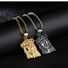 Religious classic jewelry wholesale, European and American stainless steel Jesus head pendant necklace. Casting ornaments, free shipping.