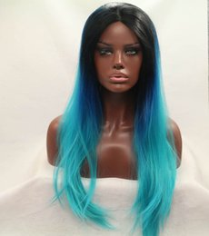 in stock natural black blue green three tones color silky straight wigs ombre lace front wig for balck women heat resistant synthetic hair