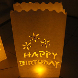 Velas de cumpleaños barcos en venta-50pcs / lot FELIZ CUMPLEAÑOS papel ligero de la vela bolsa de té Bolsas Luminarias de la linterna para el envío libre de la decoración de la fiesta de cumpleaños
