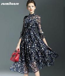 Wholesale 0244 El precio más barato Blue Summer Sleeve Chiffon Fabric pieza OL Working Dress Office Dress