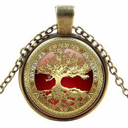 Wholesale Pc Glass Gem Tree Life Cabochon Bronze Art Picture Locket Necklace pendant Necklace Vintage Choker Necklace Fashion Jewelry