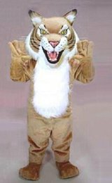 Wholesale 2016 hot sale Adult Size Power Cat Wildcat Mascot Costume with Helmet Professional Mascotte Outfit Suit Party Cosply Costume