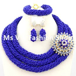 new design amazing royal blue Nigerian Wedding Jewelry Set Costume African Beads Jewelry Sets 18K Hot Free Shipping