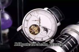 Compra Online Esfera blanca para hombre de los relojes automáticos-Reloj caliente clásico de la marca de fábrica Reloj impermeable de Tourbillon Reloj automático de los hombres de 40m m Reloj blanco de la fase de luna de la correa de cuero de la fase de la luna