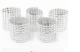 "Silver 1.5"" 8 Row Bow Covers Napkin Rings Diamond Rhinestone Wedding Chair Sashes Bows free shipping"