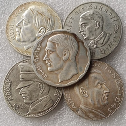 Wholesale German Full Set Hitler Silver plated copy coins Promotion Cheap Factory Price nice home Accessories Silver Coins