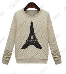 Wholesale Cheap Fashion Casual Dress Autumn Winter Women Pullover Sweatshirts European and American Style Pattern Paris Tower Hoodies